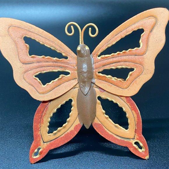 Vintage Shabby 8 Chic Metal Orange Butterfly Napki